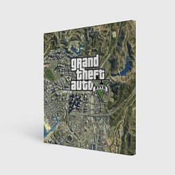 Холст квадратный GTA 5: Map Screen цвета 3D — фото 1