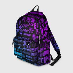 Рюкзак Неоновые лого игр цвета 3D-принт — фото 1