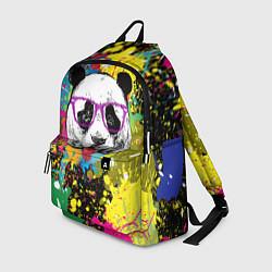 Рюкзак Панда хипстер в брызгах краски цвета 3D-принт — фото 1