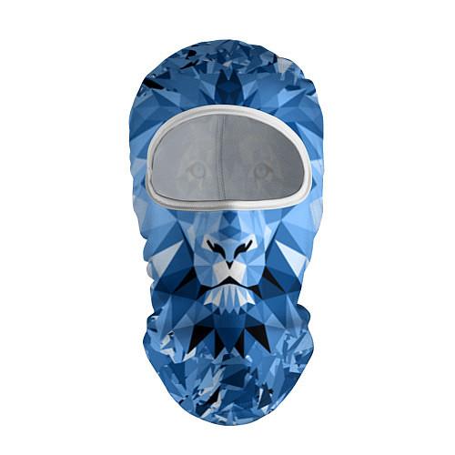 Балаклава Сине-бело-голубой лев / 3D-Белый – фото 1