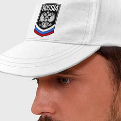 Бейсболка Russia цвета белый — фото 2