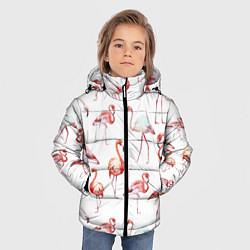 Куртка зимняя для мальчика Действия фламинго цвета 3D-черный — фото 2