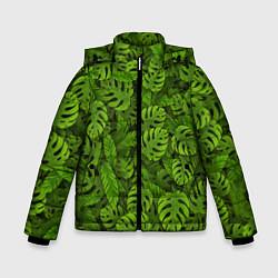 Куртка зимняя для мальчика Тропические листья цвета 3D-черный — фото 1