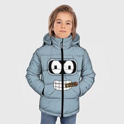Детская зимняя куртка для мальчика с принтом Лицо Бендера, цвет: 3D-черный, артикул: 10110983306063 — фото 2
