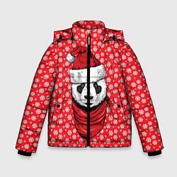 Куртка зимняя для мальчика Панда Клаус цвета 3D-черный — фото 1