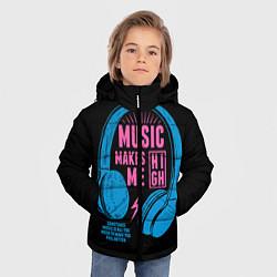 Куртка зимняя для мальчика Музыка делает меня лучше цвета 3D-черный — фото 2