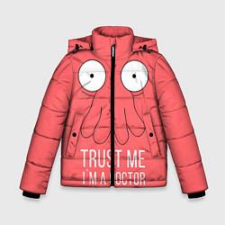 Детская зимняя куртка для мальчика с принтом Доверься Зойдбергу, цвет: 3D-черный, артикул: 10130195306063 — фото 1