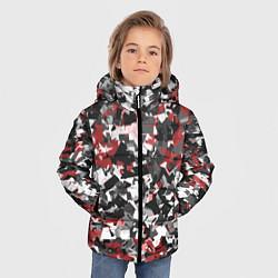 Куртка зимняя для мальчика Камуфляж: серый/красный цвета 3D-черный — фото 2
