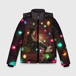 Куртка зимняя для мальчика Парень с лампочками цвета 3D-черный — фото 1