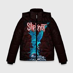 Детская зимняя куртка для мальчика с принтом Орел группа Slipknot, цвет: 3D-черный, артикул: 10135999506063 — фото 1