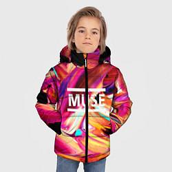 Куртка зимняя для мальчика MUSE: Neon Colours цвета 3D-черный — фото 2