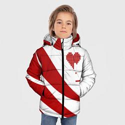 Детская зимняя куртка для мальчика с принтом Игра в сердца, цвет: 3D-черный, артикул: 10152698106063 — фото 2