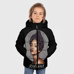 Куртка зимняя для мальчика Rihanna цвета 3D-черный — фото 2