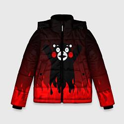 Детская зимняя куртка для мальчика с принтом Kumamon: Hell Flame, цвет: 3D-черный, артикул: 10162548706063 — фото 1