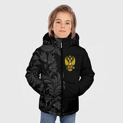 Куртка зимняя для мальчика Герб России и орнамент цвета 3D-черный — фото 2