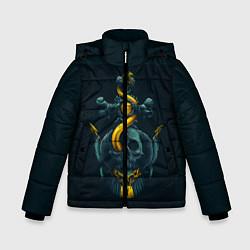 Куртка зимняя для мальчика Череп и золотой якорь цвета 3D-черный — фото 1