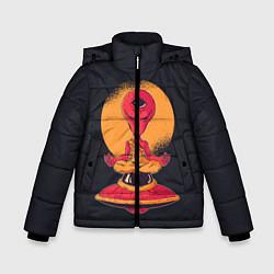 Куртка зимняя для мальчика Пришелец-медитатор цвета 3D-черный — фото 1