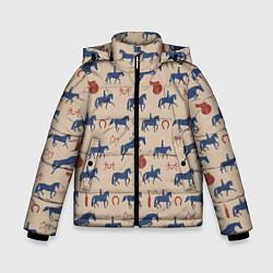 Куртка зимняя для мальчика Кони цвета 3D-черный — фото 1