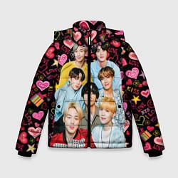 Куртка зимняя для мальчика I Love BTS цвета 3D-черный — фото 1