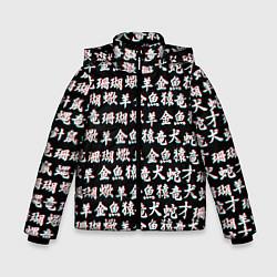 Куртка зимняя для мальчика ИЕРОГЛИФЫ ГЛИТЧ цвета 3D-черный — фото 1