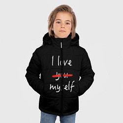 Куртка зимняя для мальчика I Love myself цвета 3D-черный — фото 2