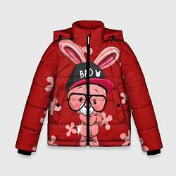 Куртка зимняя для мальчика Модный зайка цвета 3D-черный — фото 1