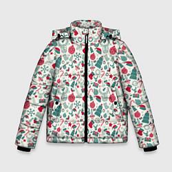 Куртка зимняя для мальчика Новогодняя Символика цвета 3D-черный — фото 1