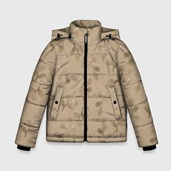 Куртка зимняя для мальчика Листья на бежевом фоне цвета 3D-черный — фото 1