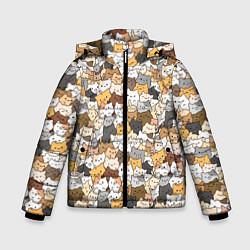 Куртка зимняя для мальчика Котики муркотики цвета 3D-черный — фото 1