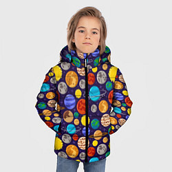 Куртка зимняя для мальчика Мультяшные планеты цвета 3D-черный — фото 2