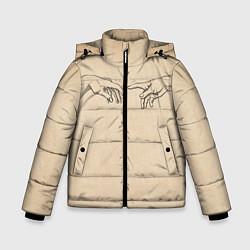 Куртка зимняя для мальчика Сотворение Адама Гранж цвета 3D-черный — фото 1