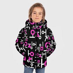 Куртка зимняя для мальчика Игра в кальмара лого узор цвета 3D-черный — фото 2