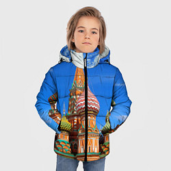 Куртка зимняя для мальчика Храм Василия Блаженного цвета 3D-черный — фото 2