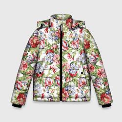 Детская зимняя куртка для мальчика с принтом Цветы, цвет: 3D-черный, артикул: 10063853306063 — фото 1