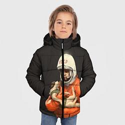 Детская зимняя куртка для мальчика с принтом Гагарин с лайкой, цвет: 3D-черный, артикул: 10064259506063 — фото 2