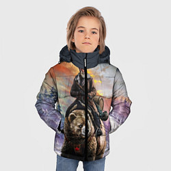 Детская зимняя куртка для мальчика с принтом Красноармеец на медведе, цвет: 3D-черный, артикул: 10071970406063 — фото 2