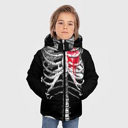 Куртка зимняя для мальчика Скелет с сердцем цвета 3D-черный — фото 2