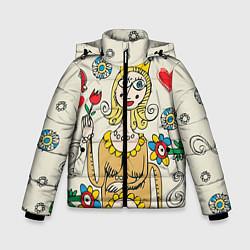 Детская зимняя куртка для мальчика с принтом Червовая дама, цвет: 3D-черный, артикул: 10079042006063 — фото 1