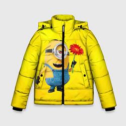 Куртка зимняя для мальчика Цветочек цвета 3D-черный — фото 1