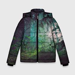Куртка зимняя для мальчика Таинственный лес цвета 3D-черный — фото 1