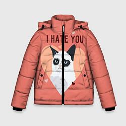 Куртка зимняя для мальчика I hate you цвета 3D-черный — фото 1