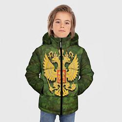 Куртка зимняя для мальчика Герб на камуфляже цвета 3D-черный — фото 2