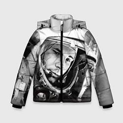 Детская зимняя куртка для мальчика с принтом Юрий Гагарин, цвет: 3D-черный, артикул: 10082403206063 — фото 1