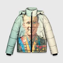 Куртка зимняя для мальчика Гагарин в орденах цвета 3D-черный — фото 1