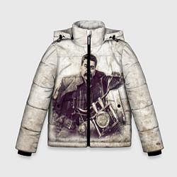 Детская зимняя куртка для мальчика с принтом Сталин байкер, цвет: 3D-черный, артикул: 10082408006063 — фото 1