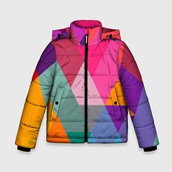Куртка зимняя для мальчика Разноцветные полигоны цвета 3D-черный — фото 1