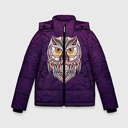 Куртка зимняя для мальчика Расписная сова цвета 3D-черный — фото 1