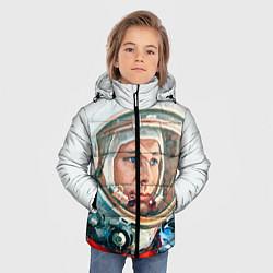 Детская зимняя куртка для мальчика с принтом Гагарин в полете, цвет: 3D-черный, артикул: 10092034406063 — фото 2