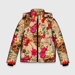 Куртка зимняя для мальчика Черепа в цветах цвета 3D-черный — фото 1