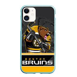 Чехол iPhone 11 матовый Boston Bruins цвета 3D-мятный — фото 1